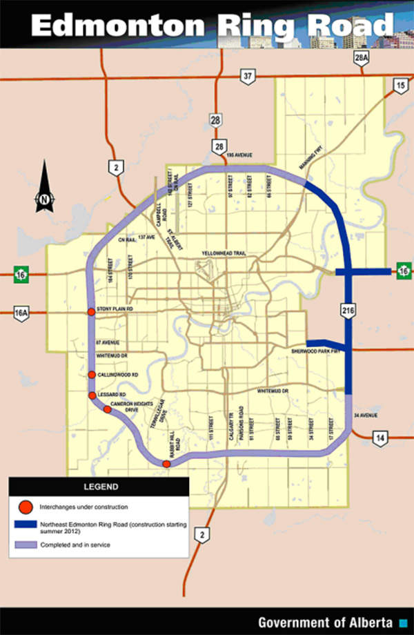 Anthony Henday Drive, the ring road encircling Edmonton, stretches 27km in length in the northeast. Image courtesy of Government of Alberta.