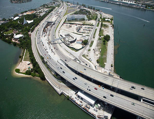 MacArthur Causeway Bridge was also extended as part of the tunnel project.