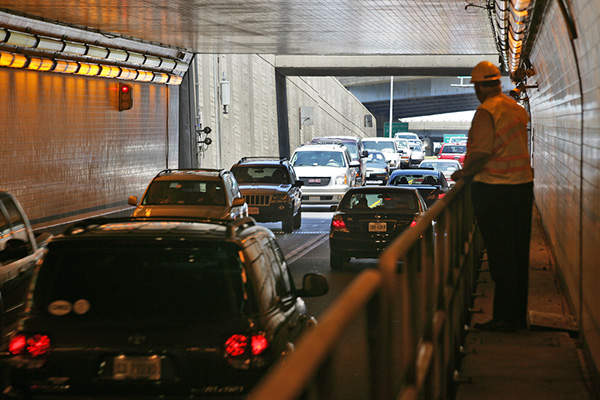 The existing Midtown tunnel on Norfolk side along route U.S. 58 is operating beyond its design capacity. Image courtesy of Tom Saunders, VDOT.
