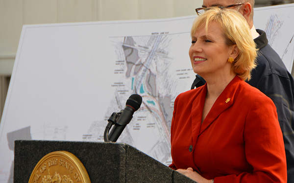 Ms Kim Guadagno, Lieutenant Governor, speaking at the groundbreaking ceremony of the Direct Connection project.