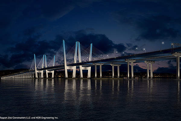The Governor Mario M Cuomo Bridge carries eight general traffic lanes, four emergency lanes, a bicycle and pedestrian path, and a commuter bus lane.