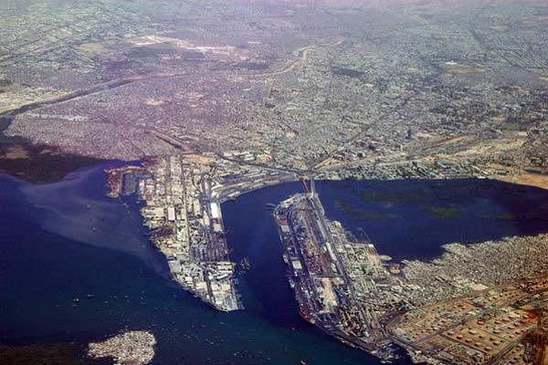 Karachi port and harbour aerial view.