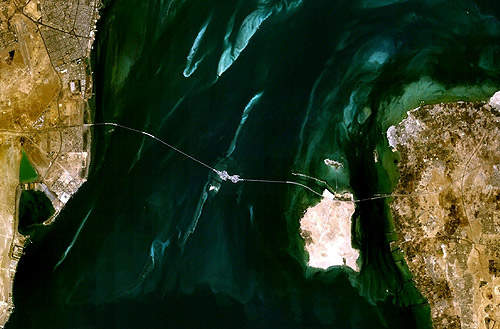 Satellite image of the King Fahd causeway.