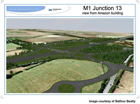 The project involves the construction of two new grade-separated interchanges and works on the M1 Junction 13.