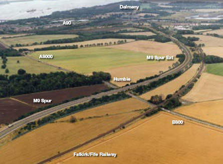 The layout for the route of the new M9 spur, which will relieve the nearby A8000.