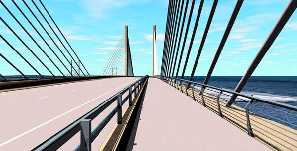 The new bridge design uses two cable stay towers.