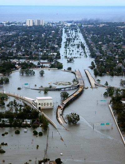 Flooding caused by Hurricane Katrina.