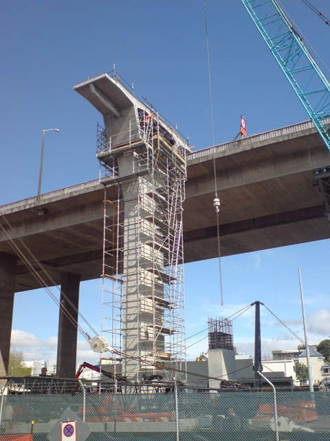 A rising column of the Newmarket Viaduct replacement, seen in the mid 2009.