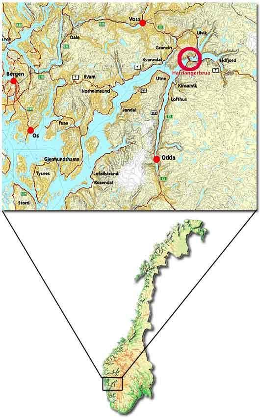 The suspension bridge crosses the Hardangerfjord in south-western Norway.