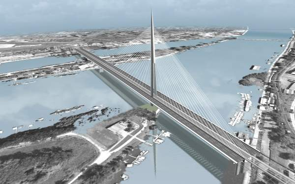 The new bridge is being constructed over the Sava river island Ada Ciganlija. Image courtesy of Louis Berger Group.
