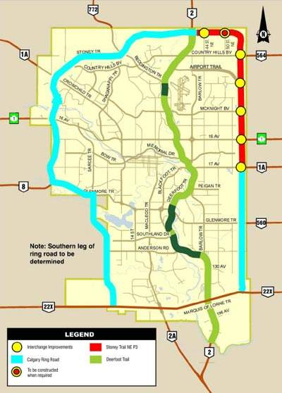 The route of the Stoney Trail.