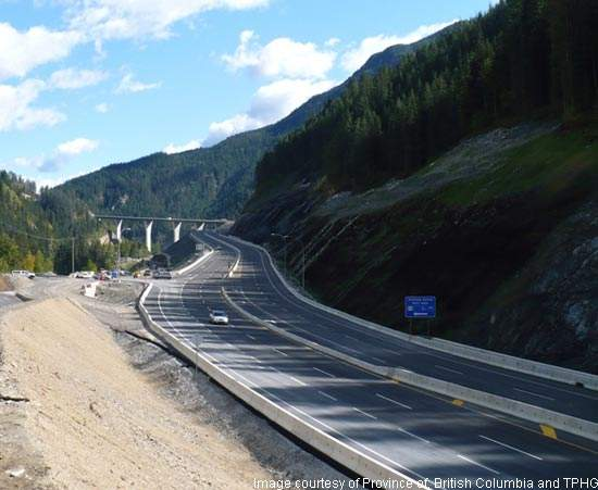 The 26km section of the Trans-Canada Highway is being upgraded into a four-lane highway with a 100km/h speed limit.
