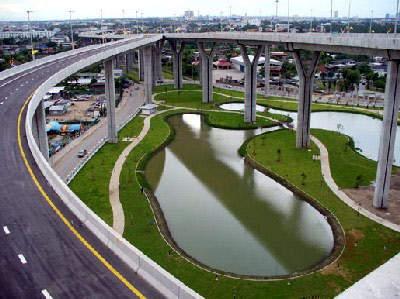 The areas beneath the Mega Bridge complex were landscaped.