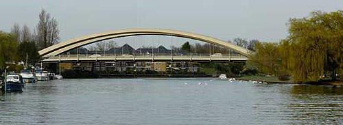 The sixth Walton Bridge crosses the Thames in one span.