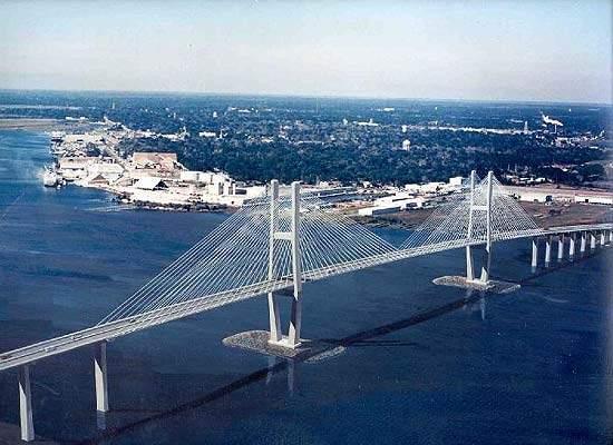 An overview of the Sidney Lanier bridge in Brunswick, Georgia