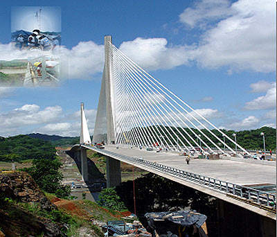 The new Panama Canal crossing is a cable-stayed bridge carrying six lanes of traffic.