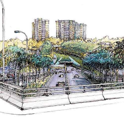 Artist's impression of the entrance / exit road from the Lane Cove Tunnel.
