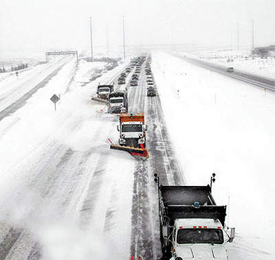 There are 24 state-of-the-art salt spreaders and 23 snow plough trucks stationed at four locations along the highway.
