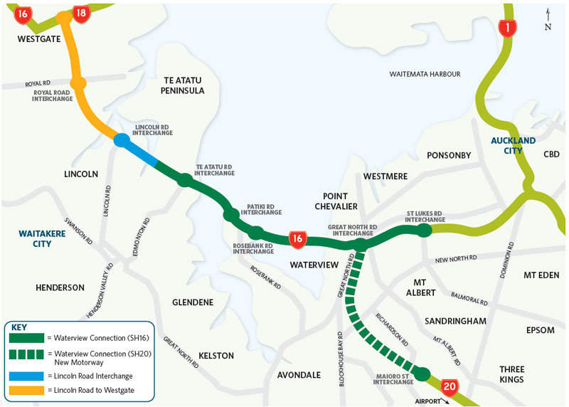A map showing the Western Ring Route. Image courtesy of NZ Transport Agency.