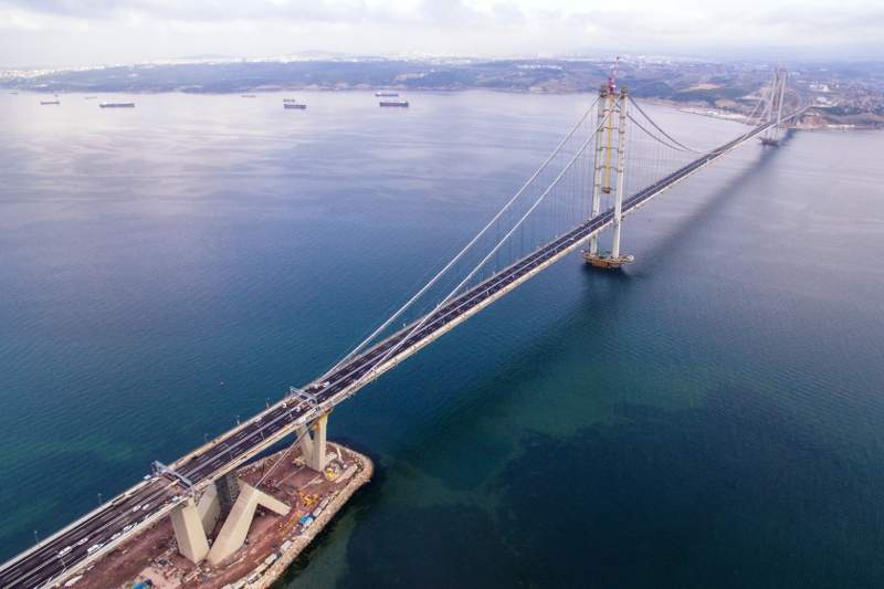 Osman Gazi bridge is 3.3km-long and is touted as one of the world's longest suspension bridges. Image courtesy of COWI A/S.