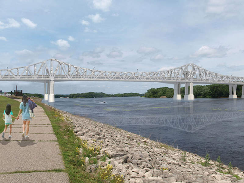 A new bridge will be constructed parallel to the old bridge. Image courtesy of SRF Consulting Group.