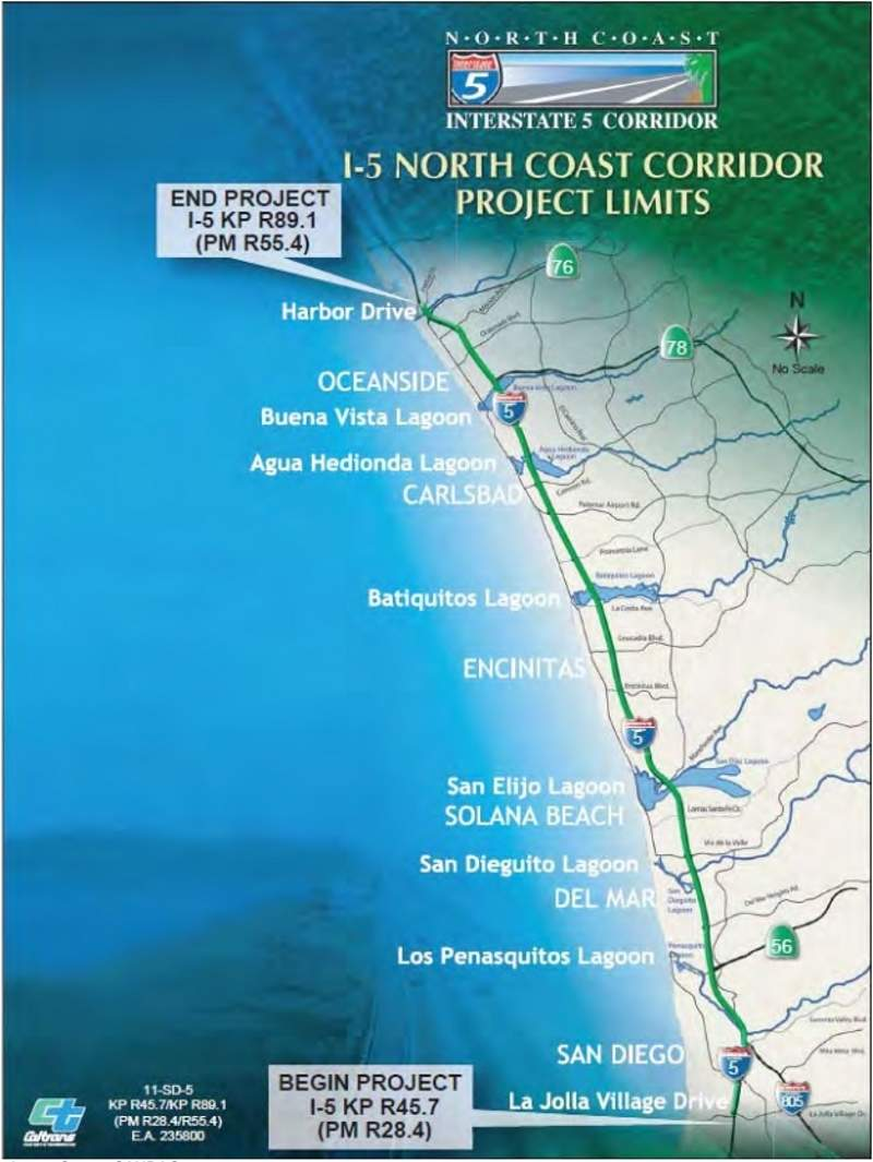 The I-5 NCC project extends from La Jolla Village Drive to Harbor Drive in Oceanside, San Diego, US. Image courtesy of California Department of Transport.