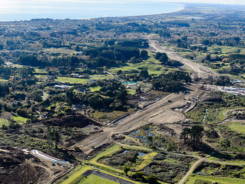 Construction began on the MacKays to Peka Peka section of the Kāpiti Expressway in December 2013. Image courtesy of Boffa Miskell.