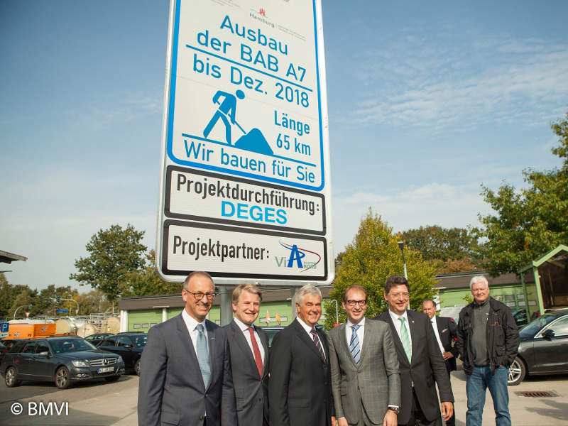 Works on extending the Hamburg to Bordesholm section of the A7 motorway commenced in September 2014. Credit: BMVI.