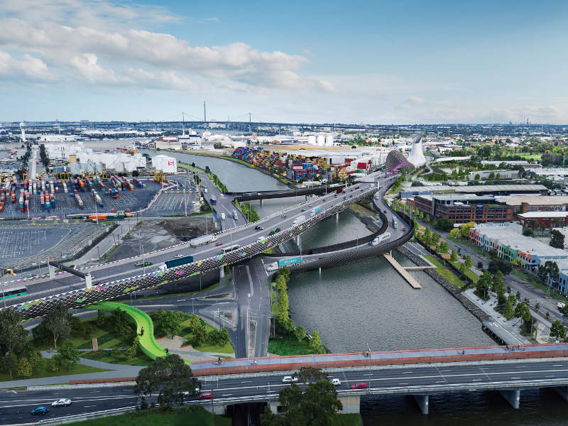 Artist's rendering of the project on the Maribyrnong River and Mackenzie Road ramps.