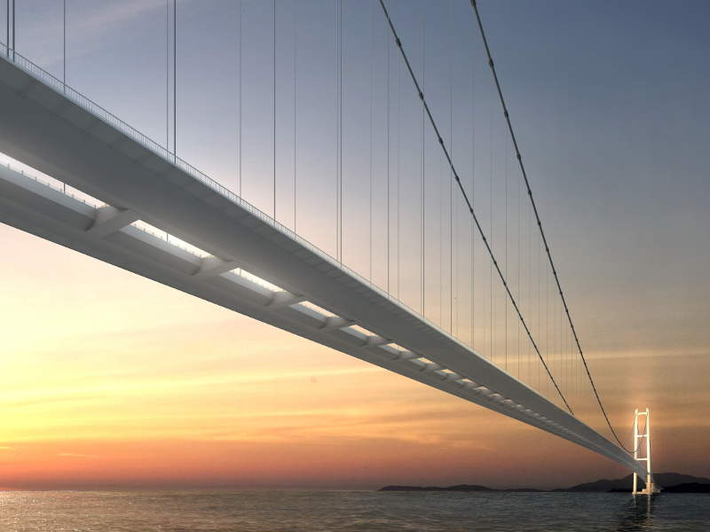 The bridge will become the world's longest suspension bridge, upon completion. Image courtesy of Daelim.