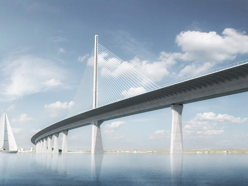 The new bridge will be a cable-stay bridge. Image courtesy of Vejdirektoratet.