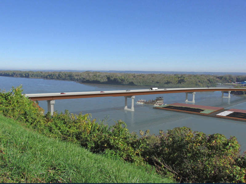 The new bridge will include two 12ft travel lanes and two 10ft shoulders. Image courtesy of the Missouri Department of Transportation (MoDOT) and the Illinois Department of Transportation (IDOT).