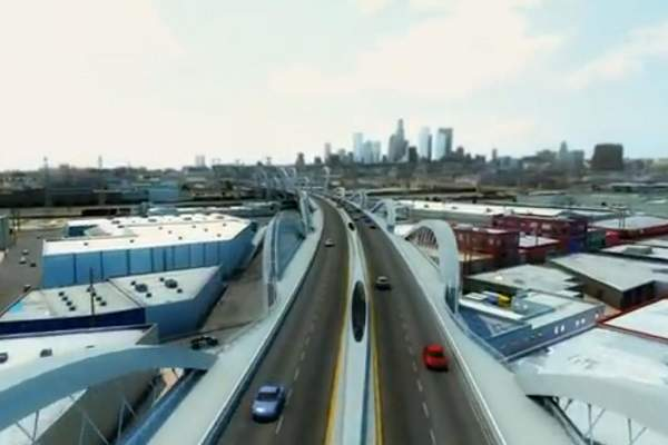 A rendering of HNTB's new bridge design for the Sixth Street viaduct.