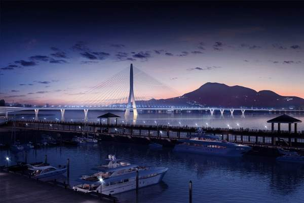 Danjiang Bridge will be the world's longest single-tower, asymmetric, cable-stayed bridge. Image: Danjiang Bridge by Zaha Hadid Architects, render by VisualArch.