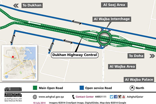 A 9km section of the New Dukhan Highway Central was opened for the public in July 2014.  Image courtesy of Ashghal.