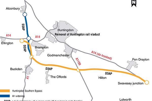 The proposed scheme (Option 7) for the A14 road improvement scheme between Cambridge and Huntingdon. Image courtesy of Highways Agency, UK.
