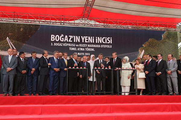 Foundation stone laying ceremony of the bridge was held on 29 May 2013. Image: courtesy of ICA (IC İçtaş Construction).