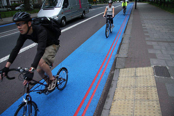 Cycle Superhighways include segregated cycle tracks. Image: courtesy of Transport for London.