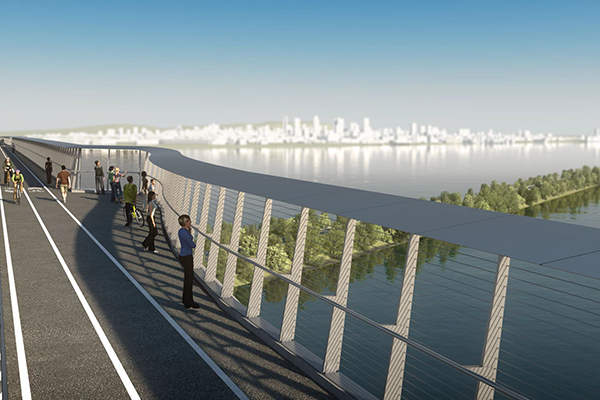 The bridge will have separate traffic lanes for pedestrians and cyclists. Image courtesy of Infrastructure Canada.