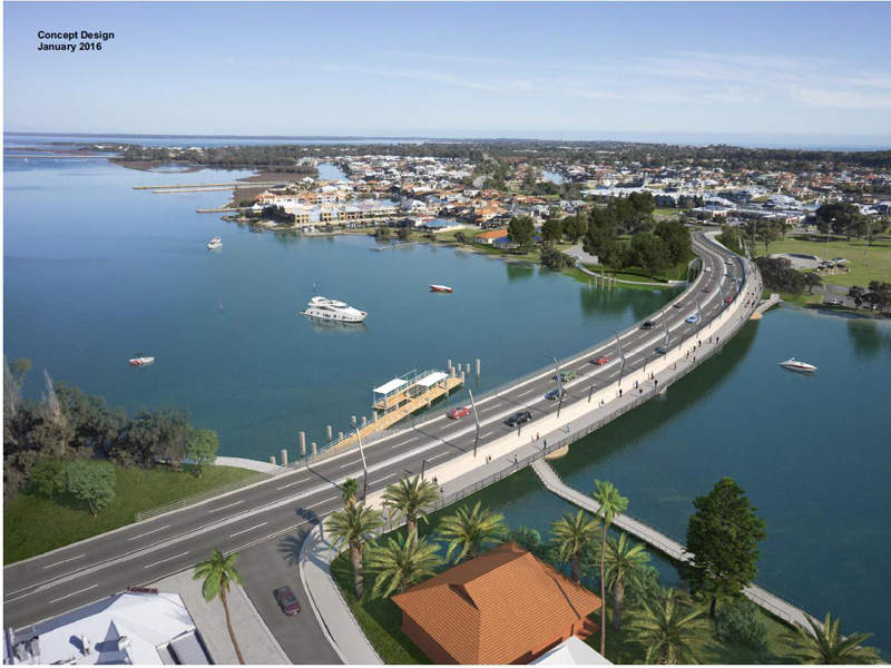 Aerial view of the new replacement bridge. Image courtesy of Government of Western Australia.