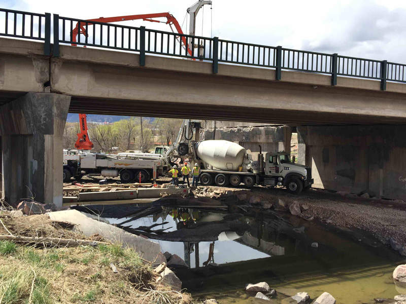 A new stone veneer bridge is being constructed on Fountain Creek at 31st Street. Image courtesy of Colorado Department of Transportation.