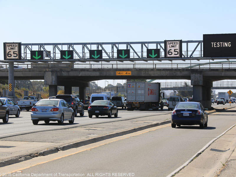 Overhead signs will only be illuminated during incidents. Image courtesy of I-80 SMART Corridor Project.