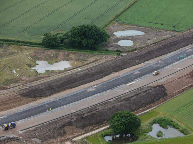Bird's eye view of a section of the Knutsford-Bowdon Improvement scheme under construction. Image: Crown copyright.