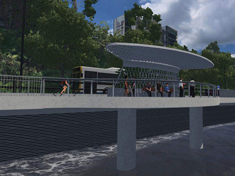 Artist's impression of the riverside improvements of the Kingsford Smith Drive Upgrade project. Image courtesy of Bicycle Queensland Inc.