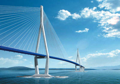 The main bridge will have a vertical clearance of 74m (242ft) and five span lengths of 80m, 260m, 800m, 260m and 80m.