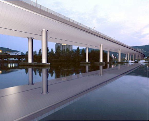 The new Drammen Bridge will have 42 spans varying from 20m to 60m and the pier columns are being built in a circular cross section of Ø2m.