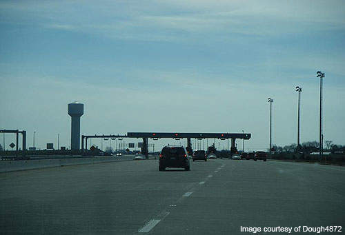 A toll plaza on Route 1, Delaware.