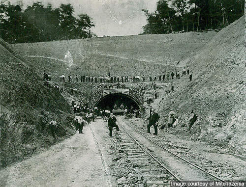 Rays Hill Tunnel during construction of the railroad tunnel in the 1880s.