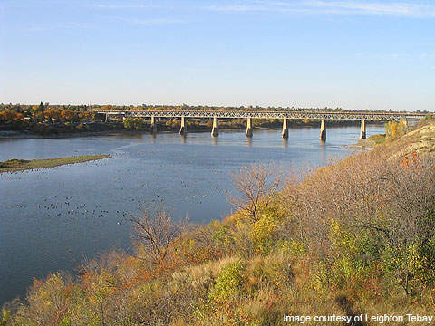 A south bridge was constructed over the Saskatchewan River.