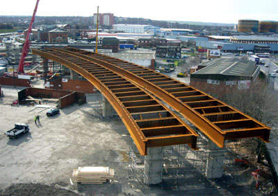 Work progressing on the deck of one of the bridges.